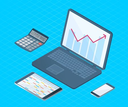 Flat right top view isometric illustration of office desktop electronic equipment. Business and school vector concept of laptop with increasing arrow graph, smart phone, tablet pc, math calculator.