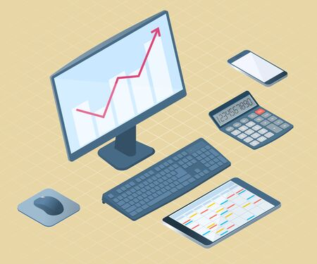 Flat left top view isometric illustration of office desktop electronic equipment. Business and school vector concept of computer with growth arrow graph, cell phone, tablet pc, mathematical calculator  Illustration