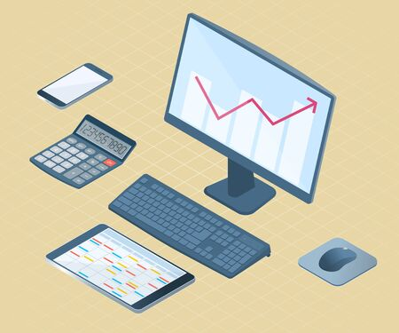 Flat right top view isometric illustration of office desktop electronic equipment. Business and school vector concept of computer with increasing arrow graph, smart phone, tablet pc, math calculator. Ilustración de vector