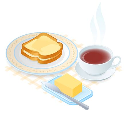 Flat isometric illustration of plate with slices of bread and butter, teacup. The dish with toasts with margarine, a cup of hot herbal tea. Vector food, breakfast elements isolated on white background