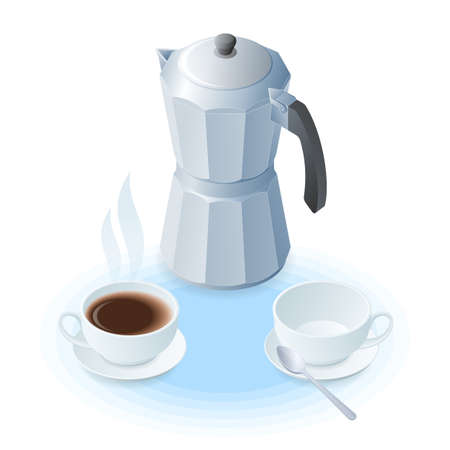 Flat isometric illustration of coffee maker, ceramic cup with coffee and empty. The coffee pot, cups with hot beverage and with spoon. A breakfast, drink vector elements isolated on white background.