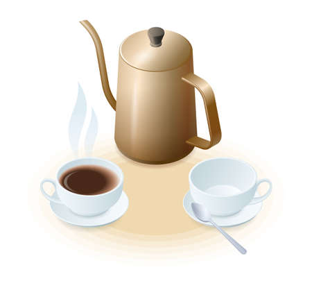 Flat isometric illustration of coffee pot, porcelain cup with coffee and empty. The coffee maker, cups with hot beverage and with spoon. A reakfast, drink vector elements isolated on white background. 向量圖像
