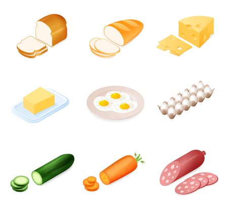Flat isometric illustration of different food ingredient set. The bread, cheese, butter, sausage, cucumber, carrot, eggs. The meals cooking vector elements isolated on white background.