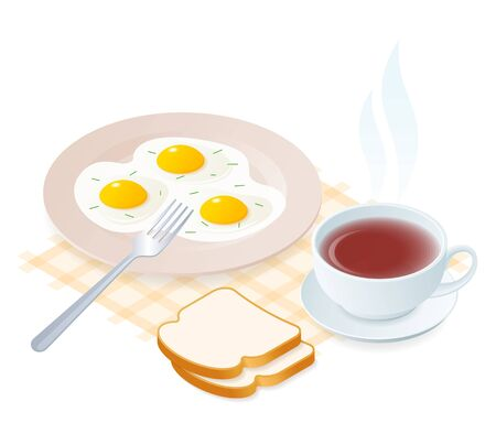 Flat isometric illustration of plate with scrambled eggs, fork, teacup. The dish with fried omelette, a cup of hot herbal tea. Vector food, breakfast elements isolated on white background.