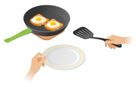 Flat isometric illustration of frying pan with scrambled eggs on the toasts, a hands with cooking spatula, plate. The fried chicken eggs on a crisp bread. Vector concept isolated on white background.