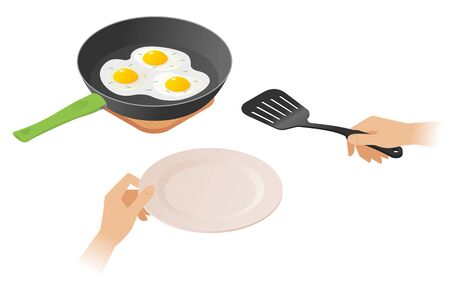 Flat isometric illustration of frying pan with scrambled eggs, a hand with kitchen slotted spatula. The morning eating of omelette from dripping pan. Cookware, cooking, food, breakfast vector concept. Illustration