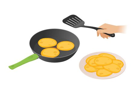 Flat isometric illustration of frying pan with pancakes, a hand with kitchen spatula. The morning cooking of sweet fried cakes in the dripping pan. Cookware, eating, food, breakfast vector concept. Illustration