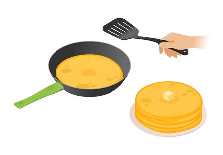 Flat isometric illustration of frying pan with pancakes, a hand with cooking spatula. The russian traditional pancakes in the dripping pan. The Shrovetide, carnival, maslenitsa food vector concept.