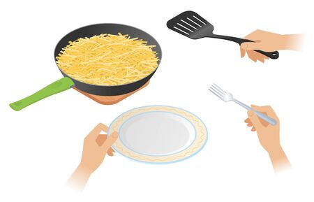 Flat isometric illustration of frying pan with french fried crispy potato, a hands are holding cooking spatula, plate, fork. Food, cookware, crockery vector concept isolated on white background.