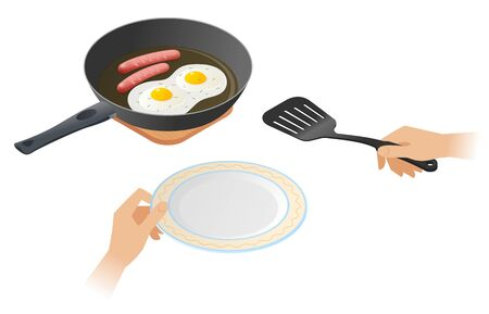 Flat isometric illustration of frying pan with scrambled hen eggs with sausages, a hands with cooking spatula, plate. The fried omelette, pork sausages. Vector concept isolated on white background.