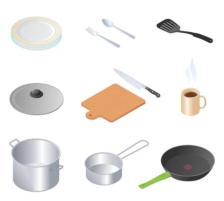 Flat isometric illustration of kitchen utensils, kitchenware and cookware set. The cooking equipment, cuisine accessories, crockery vector elements isolated on white background. Illustration