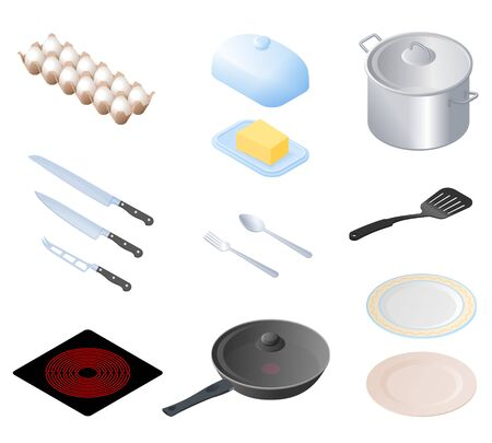 Flat isometric illustration of kitchen utensils, kitchenware, cookware set. The cooking equipment, cuisine accessories, crockery, foodstuffs, ingredients vector elements isolated on white background. Illustration