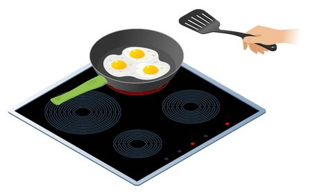 Flat isometric illustration of kitchen electric stove with frying pan. The fried scrambled eggs in the cooking pan and a hand with kitchen slotted spatula. Cookware, cooking, food vector concept. Illustration