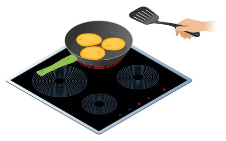 Flat isometric illustration of kitchen electric stove with frying pan. The fried pancakes in the cooking pan and a hand with kitchen slotted spatula. Cookware, cooking, food, breakfast vector concept.