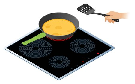 Flat isometric illustration of kitchen electric stove, frying pan with pancakes. The russian traditional pancakes in the cooking pan, a hand with kitchen spatula. Shrovetide cooking vector concept. Illustration