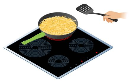 Flat isometric illustration of kitchen electric stove, frying pan with crispy fried potato. The hand holds a cooking spatula. Food, cookware, crockery vector concept isolated on white background. Illustration