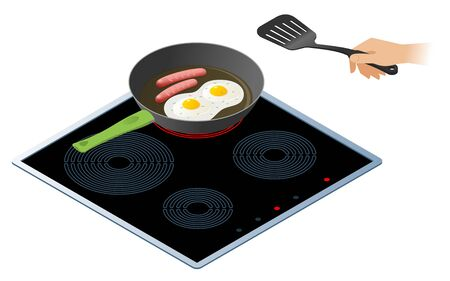 Flat isometric illustration of kitchen electric stove, frying pan with sausages and the scrambled eggs. The fried omelette with pork sausages, a hand with spatula. Vector isolated on white background.