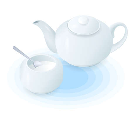 Flat isometric illustration of ceramic teapot and sugar bowl. The hot black or herbal tea in the porcelain tea pot, sugar basin with spoon. Vector food, breakfast, drink elements isolated on white.