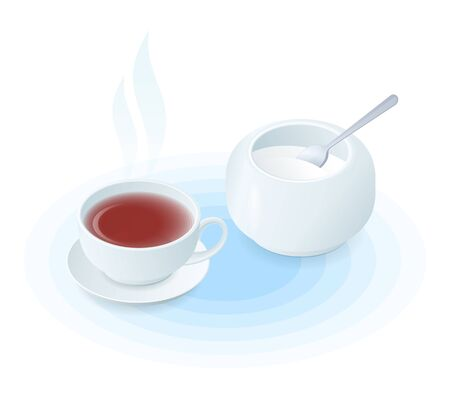 Flat isometric illustration of cup of tea and sugar basin. The hot black or herbal tea in the ceramic teacup, porcelain sugar bowl, tea spoon. Vector food, breakfast, drink elements isolated on white. 向量圖像
