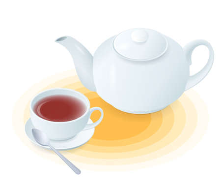 Flat isometric illustration of ceramic cup of tea and teapot. The hot black or herbal tea in the porcelain teacup, tea pot, spoon. Vector food, breakfast, drink elements isolated on white background.