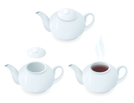 Flat isometric illustration of ceramic teapots with lids and a tea. The porcelain tea pots with caps and hot beverage. Vector breakfast, traditional drink elements isolated on white background.