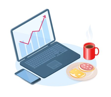 Flat vector isometric illustration of office breakfast. A desktop with laptop, cell phone, dish with sausage, cheese sandwiches, cup of coffee. The business snack, eating at a home workplace concept. Vettoriali