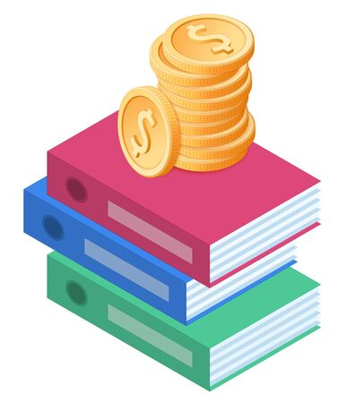 Flat isometric illustration of pile of coins on the stack of folders. The business growth, earnings, profit, success, wages, revenue, office stationery vector concept isolated on white background.