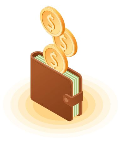 Flat isometric illustration of coins droping into wallet with banknotes. The business growth, money, earnings, profit, success, vector concept isolated on white background.