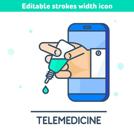 The telemedicine, online medicine outline icon. Doctor's hand holds a plastic dropper bottle with nasal drops. Virus vaccination and therapy concept vector illustration with editable strokes width.