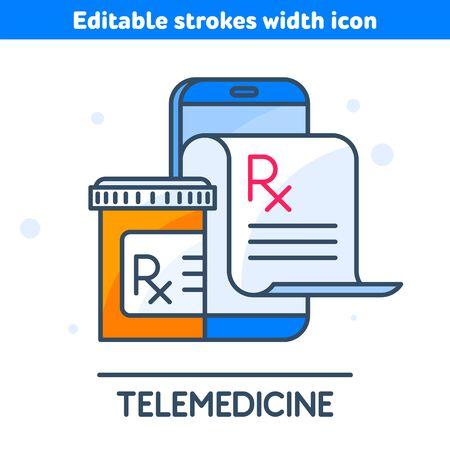 The telemedicine line icon. A doctor is prescribe medicine. Linear symbol of smartphone, Rx prescription from the screen, orange pill bottle. Modern medical technologies concept vector illustration.
