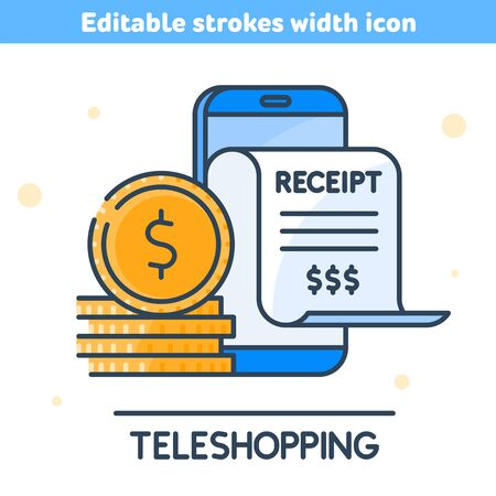 Online shopping, digital marketing, teleshopping concept vector illustration. Linear symbol of smartphone, paper receipt bill, stack of coins. The online bill purchase with mobile phone outline icon. 向量圖像