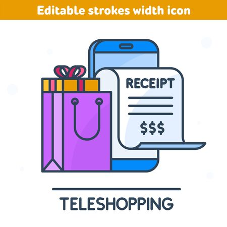 The online bill purchase with smartphone outline icon. Linear symbol of mobile phone, paper receipt bill, shopping bag, goods. Digital technologies, marketing, teleshopping concept vector illustration
