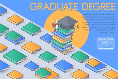 A graduate School concept vector Illustration. A books, textbooks, and square academic cap with diploma on the stack of books. A graduate degree, college course, achievement. 3d isometric template.  向量圖像