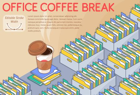 An office coffee break concept vector illustration. A lot of boxes with document folders on the desk. An aromatic coffee cup with lid. Horizontal layout 3d line isometric pattern for banners, posters. 向量圖像