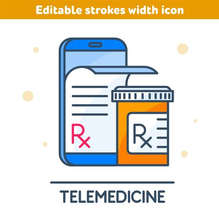 The telemedicine outline icon. Linear symbol of smartphone, Rx prescription from the screen, orange pill bottle. Modern medical technologies concept vector illustration with editable strokes width.