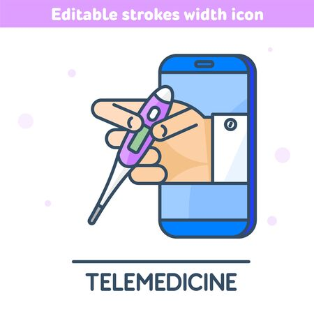 The telemedicine, medicine outline icon. Linear symbol of smartphone, doctor's hand holding a thermometer. The online measurement of temperature concept vector illustration with editable strokes width 向量圖像
