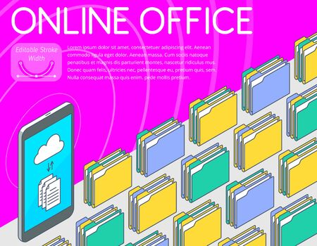 Online office concept vector illustration. A mobile phone with e-documents, cloud storage icons at the screen. A lot of folders with paper documents on the desktop. The 3d isometric pattern template.