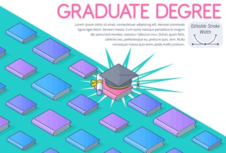 A graduation concept vector Illustration. A lot of books, textbooks, square academic cap, diploma. A graduate degree, college course, higher school, graduate school education. 3d isometric pattern.  向量圖像