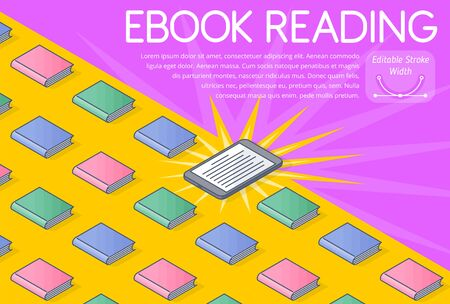 The eBook reading concept vector Illustration. A lot of books, electronic wireless reader. The modern school education, portable library, reading media and books online. 3d line isometric pattern.