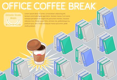 An office coffee break concept vector illustration. A lot of colorful folders with documents on the desk. An aromatic coffee cup with lid. Horizontal layout 3d line isometric pattern.