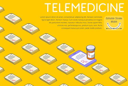 Telemedicine and medicine 3d line isometric template. A lot of paper Rx prescriptions, one on a phone screen, orange pill bottle on a smartphone. Horizontal layout vector concept illustration. 向量圖像
