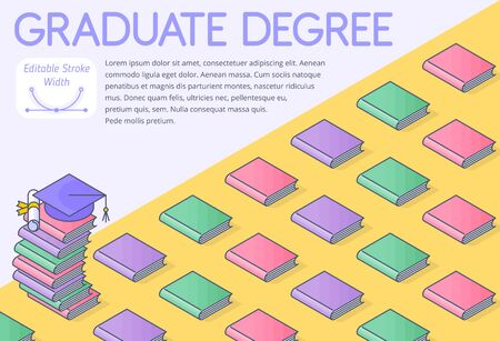A graduate degree 3d line isometric pattern. A completion an academic degree, course of training, high school.  A graduate school education concept. An Illustration of books, graduation hat, diploma. 向量圖像