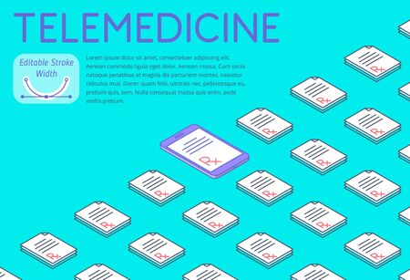 Medicine and telemedicine 3d isometric pattern. A lot of paper Rx prescriptions, one on a phone screen. Vector horizontal design illustration with variable strokes width. Concept for poster and banner 向量圖像