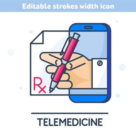 The telemedicine outline icon. Linear symbol of smart phone, hand with pen from the screen. Rx prescription written by a medical practitioner. Concept vector illustration with editable strokes width.