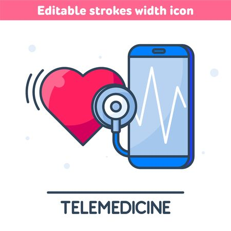 The telemedicine, medicine outline icon. Linear symbol of  of smart phone with pulse line on the screen. The smartphone, stethoscope, heart concept vector illustration with editable strokes width. 向量圖像