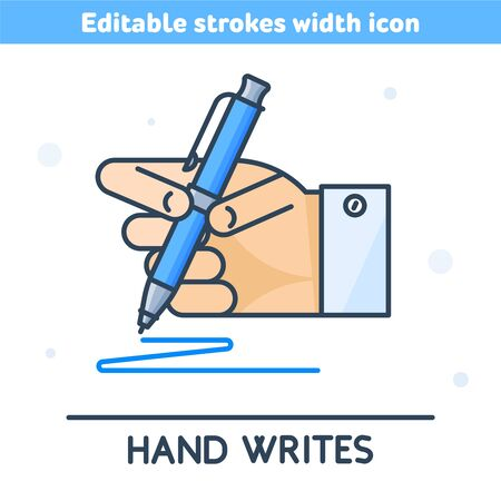 The outline icon of hand holding a pen. Linear symbol of hand writing with a pen. Concept of busines communication, school, office, learning, education. Vector illustration with editable strokes width