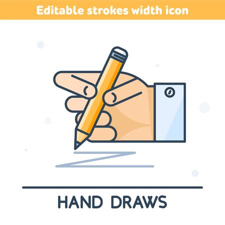 The outline icon of hand holding a pencil. A linear symbol of hand drawing with a pencil. Concept of sketching, school geometry, construction, editing. Vector illustration with editable strokes width.