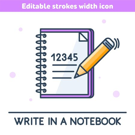 A school notebook outline color icon. A study copybook and pencil linear symbol. Concept of education, learning, Back to school. A pen writes a digits. Vector illustration with editable strokes width. 向量圖像