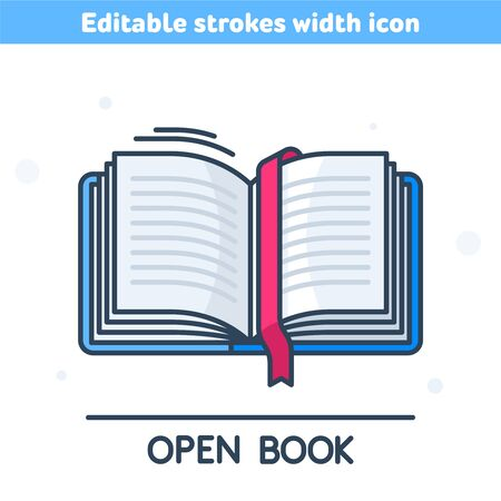 The outline icon of open book. The linear colorful symbol of textbook with red ribbon bookmark. Reading, education, learning,