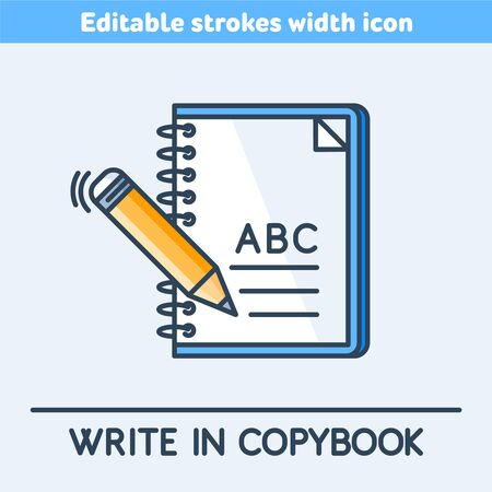 A school copybook outline color icon. A study notebook and pencil linear symbol. Concept of education, Back to school. A pen is writting a letters. Vector illustration with editable strokes width.